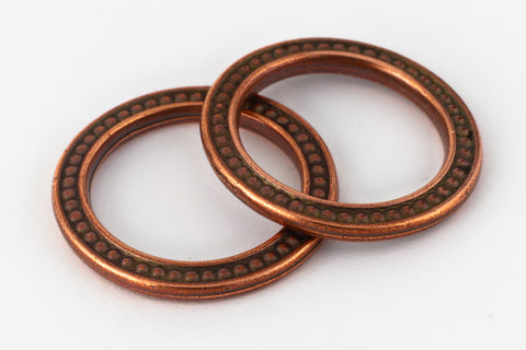 "1"" Antique Copper TierraCast Pewter Beaded Ring (15 Pcs) #CK477-General Bead"