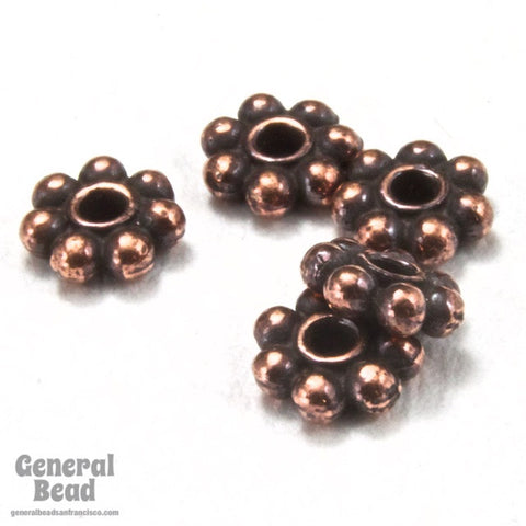 4mm Antique Copper Tierracast Pewter Beaded Daisy Spacer #CKE084-General Bead