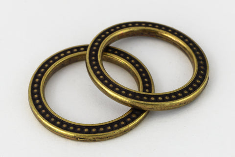 "1"" Antique Brass TierraCast Pewter Beaded Ring (15 Pcs) #CK477-General Bead"