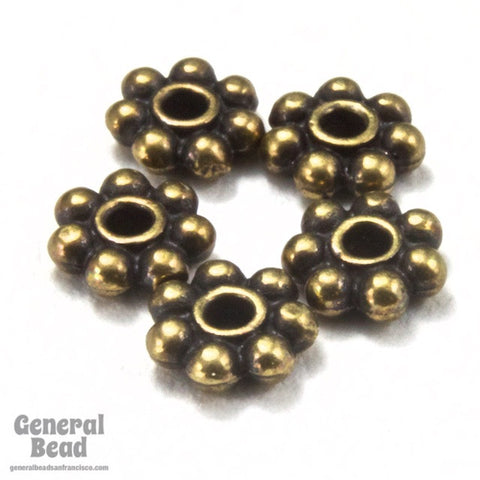 4mm Antique Brass Tierracast Pewter Beaded Daisy Spacer #CKF084-General Bead