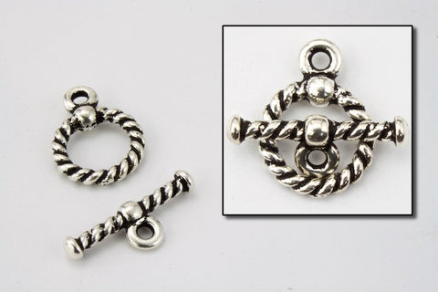 10mm Antique Silver Rope Toggle Clasp #CLA100