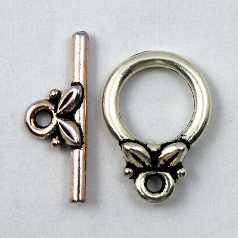 11mm Antique Silver Leaf Toggle Clasp