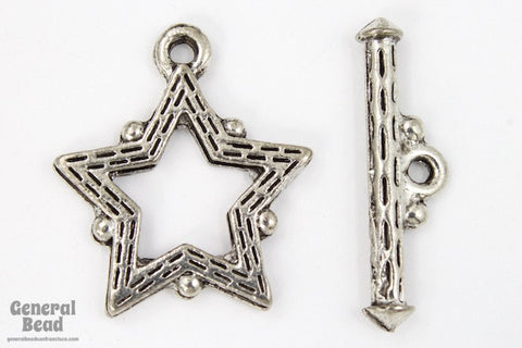 17mm Antique Silver Pewter Star Toggle Clasp