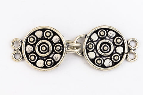 "30mm x 15mm Silver ""Bali"" Hook and Eye Clasp with 2 Loops #CLBA219-General Bead"