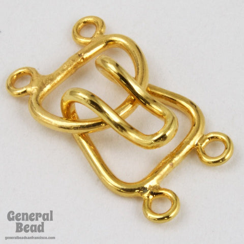 10mm Gold Tone Hook and Eye Clasp Set with 2 Loops #CLD110-General Bead