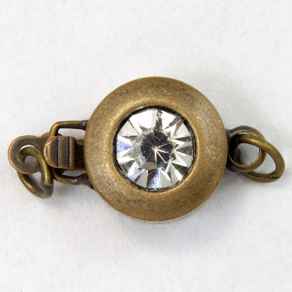12mm Antique Brass Rhinestone Box Clasp
