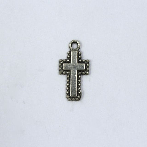 20mm Antique Silver Beaded Border Cross