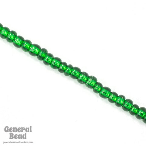 5/0 Silver Lined Green Czech Seed Bead (40 Gm) #CSA059-General Bead