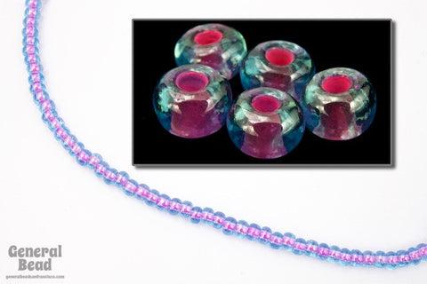 6/0 Orchid Lined Aqua Seed Bead (20 Gm, 1/2 Kilo) #CSB074-General Bead