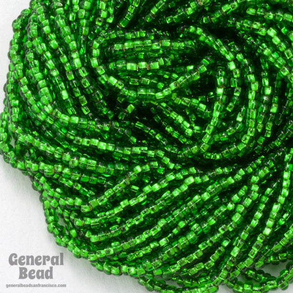 10/0 Silver Lined Christmas Green Czech Seed Bead
