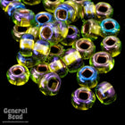 8/0 Copper Lined Olivine AB Czech Seed Bead (40 Gm) #CSD081-General Bead
