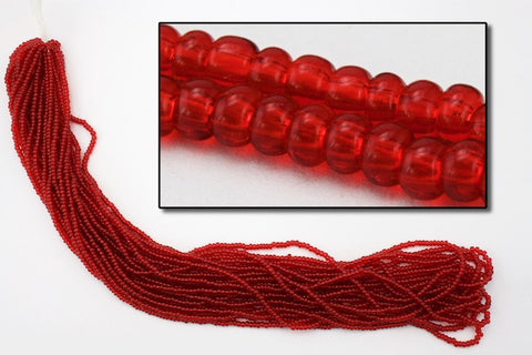 10/0 Transparent Ruby Czech Seed Bead (10 Gm, Hank, 1/2 Kilo) #CSF009