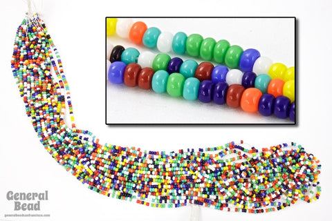 11/0 Opaque Multi-Color Mix Czech Seed Bead (10 Gm, Hank, 1/2 Kilo) #CSG060-General Bead
