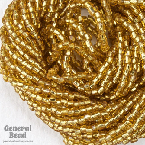 12/0 Silver Lined Gold 3-Cut Czech Seed Bead (5 Gm, Hank, 10 Hanks) #CSR025-General Bead