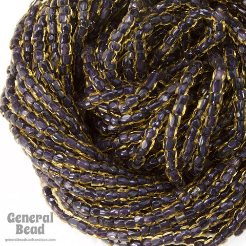 12/0 Black Lined Topaz 3-Cut Czech Seed Bead (5 Gm, Hank, 10 Hanks) #CSR050-General Bead