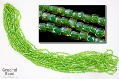 12/0 Green Lined Yellow 3-Cut Czech Seed Bead (5 Gm, Hank, 10 Hanks) #CSR121-General Bead