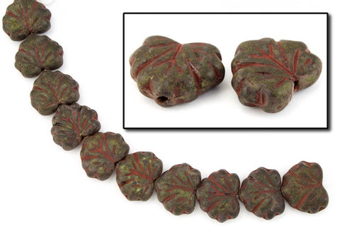 10mm x 13mm Forest Green/Red Vein Maple Leaf Bead (20 Pcs) #CZL001-General Bead