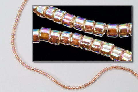 DBV054- 11/0 Peach Lined Crystal Aurora Borealis Delica Beads