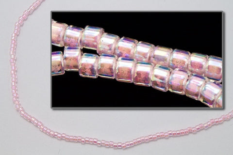 DBV055- Pale Pink Lined Crystal Aurora Borealis Delica Beads-General Bead