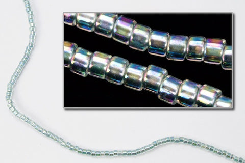 DBV084- 11/0 Light Sea Foam Lined Crystal Aurora Borealis Delica Beads-General Bead