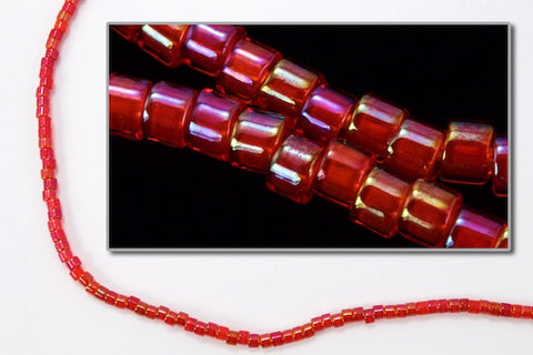 DBV295- 11/0 Red Lined Red Aurora Borealis Delica Beads-General Bead