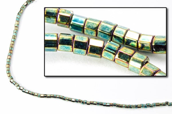 DBW024- 11/0 Metallic Green Iris Cut Delica Beads