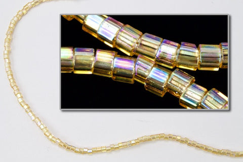 DBW100- 11/0 Transparent Light Topaz Aurora Borealis Cut Delica Beads-General Bead