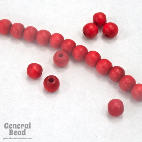 5mm Red Wood Bead-General Bead