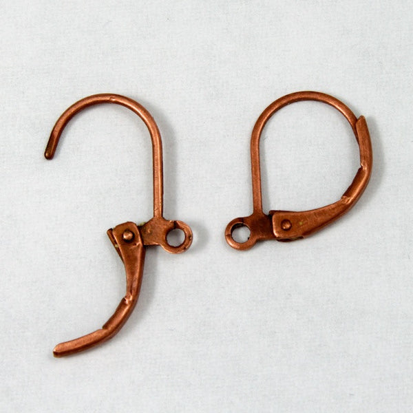 14mm Antique Copper Leverback Earrings