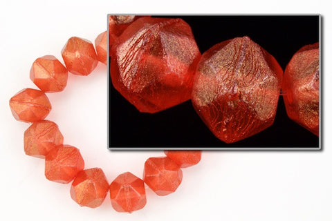 10mm Bittersweet Red/Gold Luster English Cut Bead