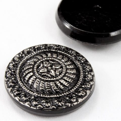 18mm Silver on Black Medallion Cabochon #FGA074-General Bead