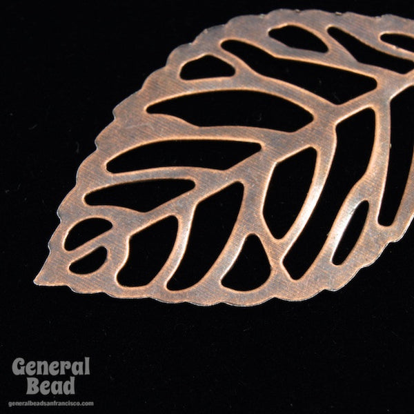 20mm x 30mm Antique Copper Filigree Leaf Dangle