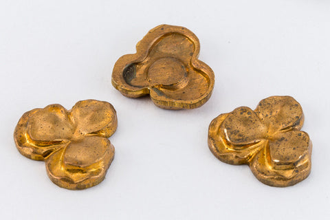 10mm Vintage Raw Brass Trefoil Filigree (4 Pcs) #FIA102-General Bead
