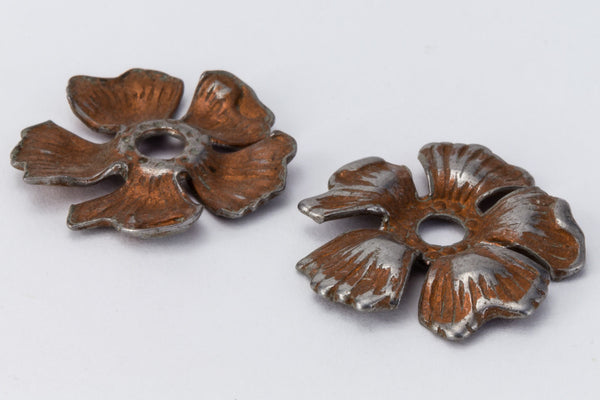 15mm Vintage Apple Blossom in Antique Silver and Copper (2 Pcs) #FIA110