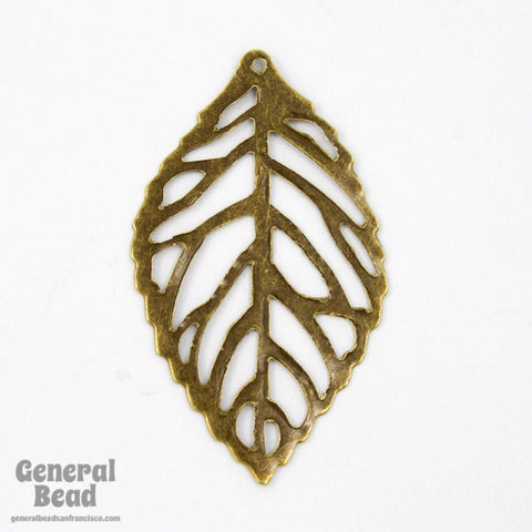 20mm x 30mm Antique Brass Filigree Leaf Dangle