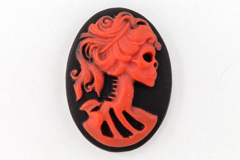 13mm x 18mm Red and Black Skeleton Cameo #FPA102