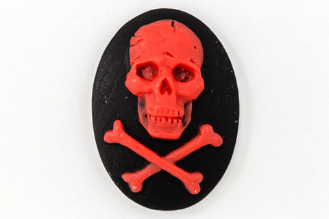 18mm x 25mm Red and Black Jolly Roger Cameo #FPA103