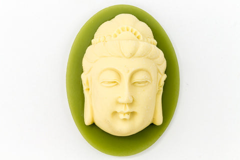 30mm x 40mm Ivory and Green Buddha Head Cameo #FPA105