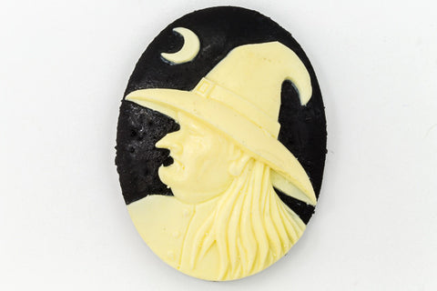 30mm x 40mm Ivory and Black Witch Profile Cameo #FPA106