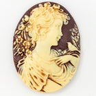 30mm x 40mm Ivory and Mauve Lady's Profile Cameo #FPA107-General Bead