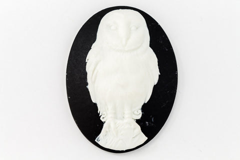 30mm x 40mm White and Black Owl Cameo #FPA113