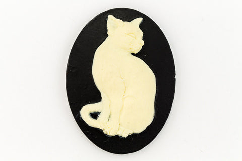 30mm x 40mm Ivory and Black Cat Cameo #FPA115