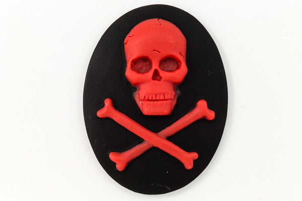 30mm x 40mm Red and Black Jolly Roger Cameo #FPB103