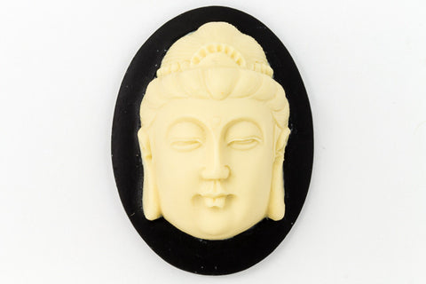 30mm x 40mm Ivory and Black Buddha Head Cameo #FPB105
