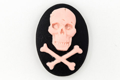 18mm x 25mm Pink and Black Jolly Roger Cameo #FPC103
