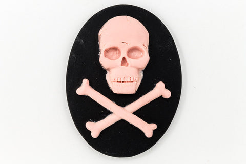 30mm x 40mm Pink and Black Jolly Roger Cameo #FPD103