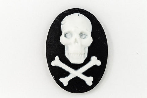 18mm x 25mm White and Black Jolly Roger Cameo #FPE103-General Bead