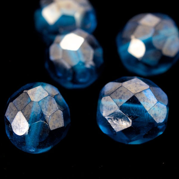 10mm Aqua Luster Fire Polished Bead