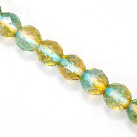 10mm Aqua/Topaz Two Tone Fire Polished Bead (25 Pcs) #FPX004-General Bead