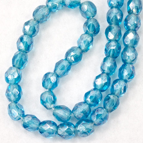 4mm Aqua Luster Fire Polished Bead-General Bead